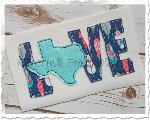 Raggy Applique Texas Love Machine Embroidery Design
