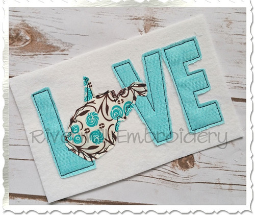 Raggy Applique West Virginia Love Machine Embroidery Design