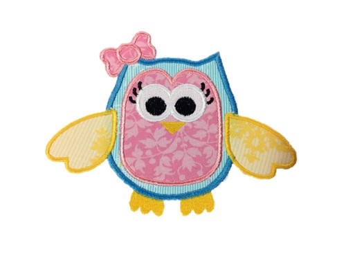 Applique Girly Owl With a Bow Machine Embroidery Design