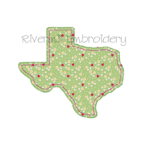 Raggy Applique State of Texas Machine Embroidery Design