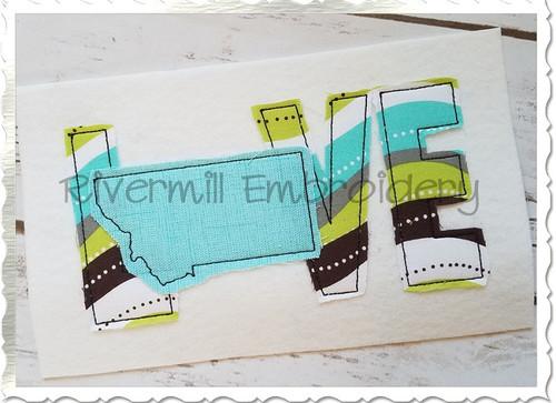 Raggy Applique Montana Love Machine Embroidery Design