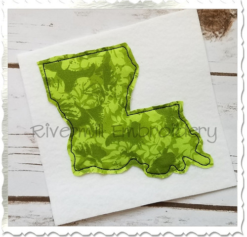 Raggy Applique State of Louisiana Machine Embroidery Design