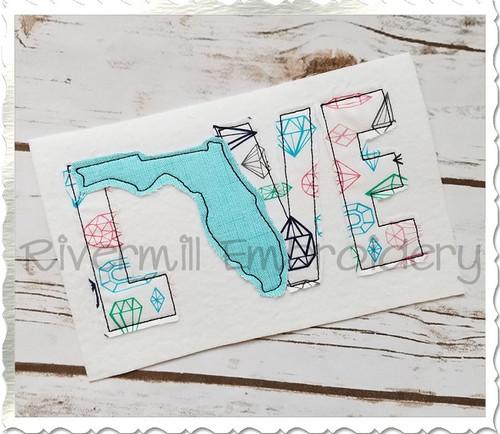 Raggy Applique Florida Love Machine Embroidery Design