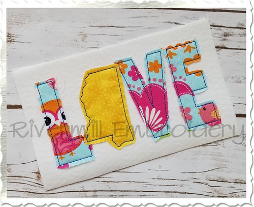 Raggy Applique Mississippi Love Machine Embroidery Design
