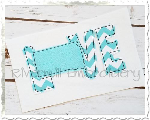 Raggy Applique South Dakota Love Machine Embroidery Design