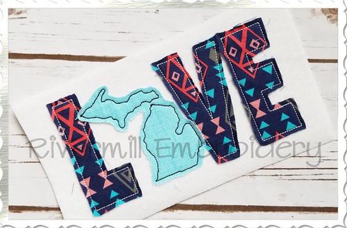 Raggy Applique Michigan Love Machine Embroidery Design