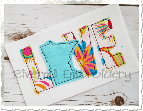 Raggy Applique Minnesota Love Machine Embroidery Design