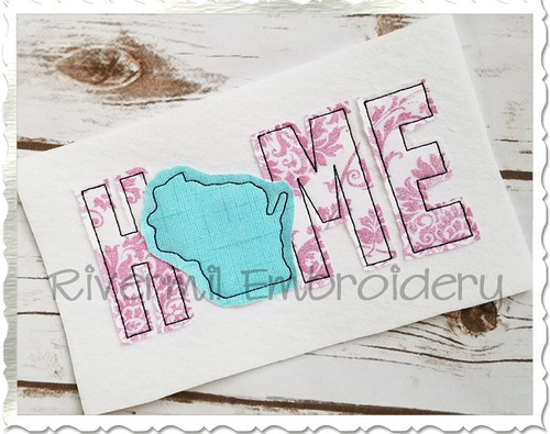 Raggy Applique Wisconsin Home Machine Embroidery Design