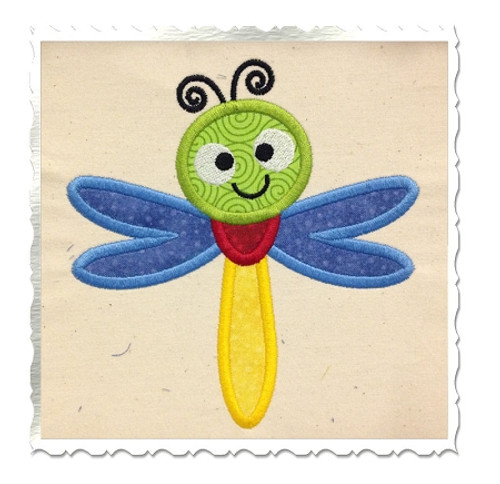 Applique Dragonfly Machine Embroidery Design