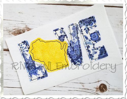 Raggy Applique Wisconsin Love Machine Embroidery Design