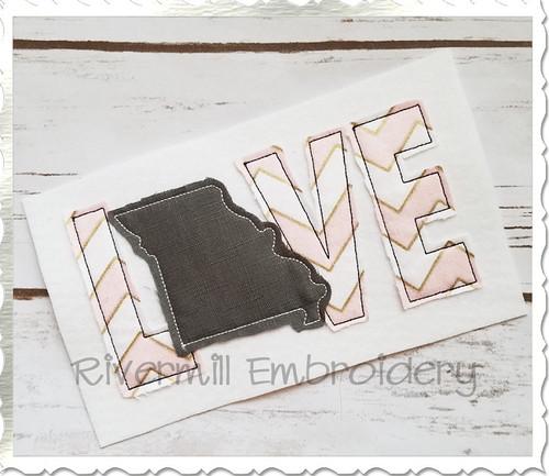 Raggy Applique Missouri Love Machine Embroidery Design