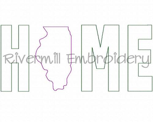 Raggy Applique Illinois Home Machine Embroidery Design