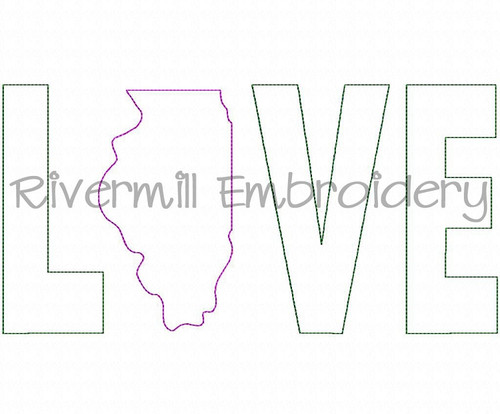 Raggy Applique Illinois Love Machine Embroidery Design