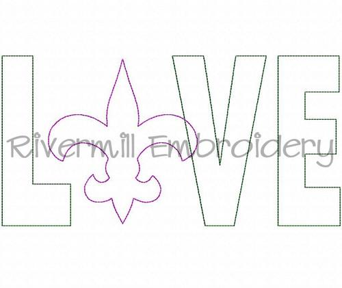 Raggy Applique Fleur De Lis Love Machine Embroidery Design