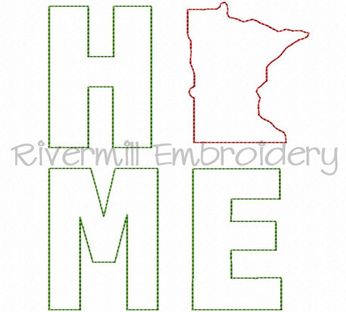 Raggy Applique Stacked Minnesota Home Machine Embroidery Design