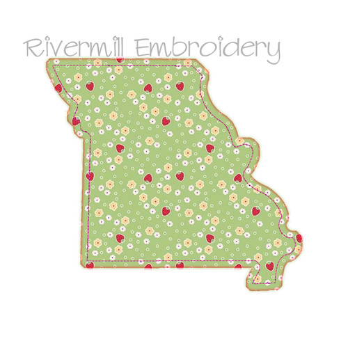 Raggy Applique State of Missouri Machine Embroidery Design