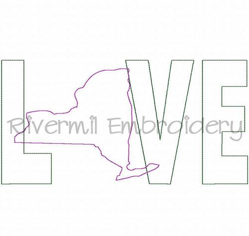 Raggy Applique New York Love Machine Embroidery Design