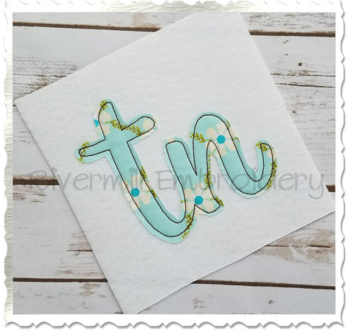 "Raggy Applique Tennessee ""tn"" Machine Embroidery Design"