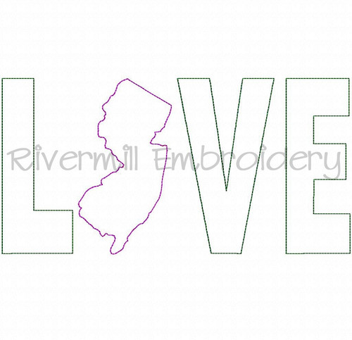 Raggy Applique New Jersey Love Machine Embroidery Design