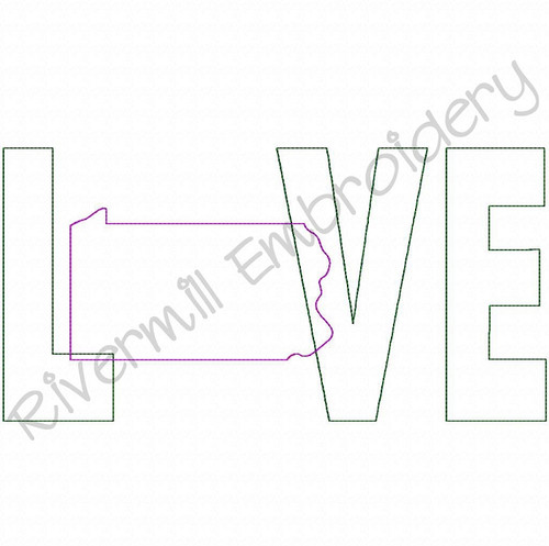 Raggy Applique Pennsylvania Love Machine Embroidery Design