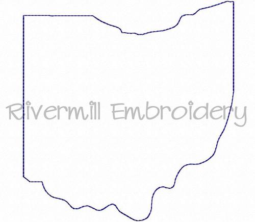 Raggy Applique State of Ohio Machine Embroidery Design