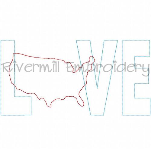 Raggy Applique United States USA Love Machine Embroidery Design