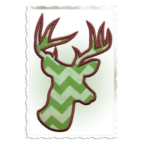 Applique Deer Head Buck Silhouette Machine Embroidery Design