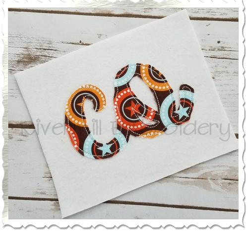 "Raggy Applique Colorado ""co"" Machine Embroidery Design"