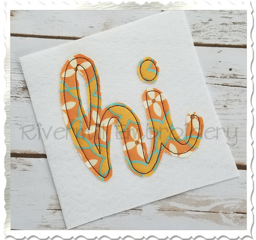 "Raggy Applique Hawaii ""hi"" Machine Embroidery Design"