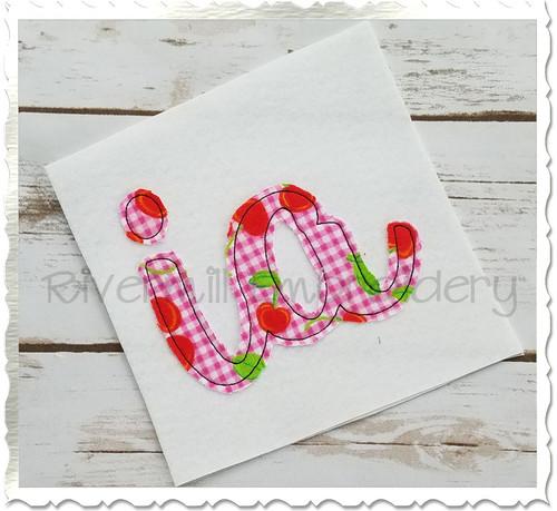 "Raggy Applique Iowa ""ia"" Machine Embroidery Design"