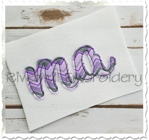 "Raggy Applique Massachusetts ""ma"" Machine Embroidery Design"