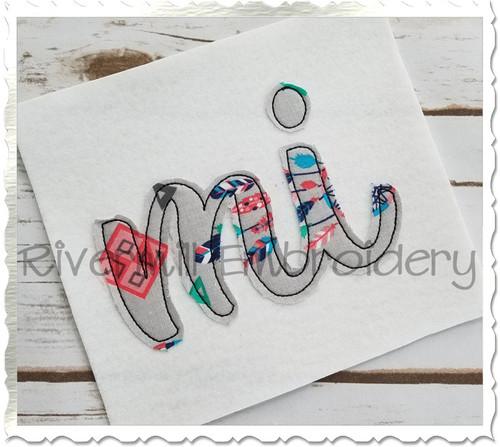 """Raggy Applique Michigan """"mi"""" Machine Embroidery Design"""