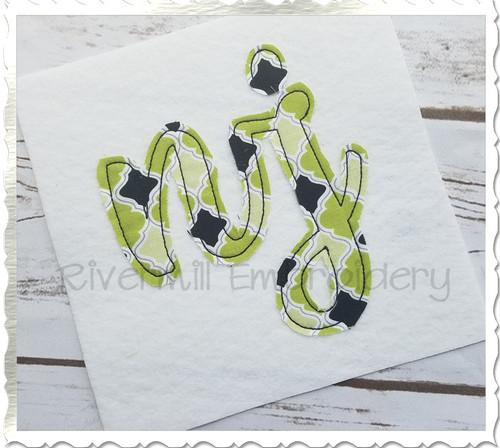 "Raggy Applique New Jersey ""nj"" Machine Embroidery Design"