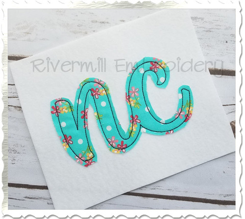 "Raggy Applique North Carolina ""nc"" Machine Embroidery Design"
