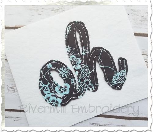 "Raggy Applique Ohio ""oh"" Machine Embroidery Design"