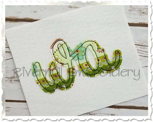 "Raggy Applique Washington ""wa"" Machine Embroidery Design"