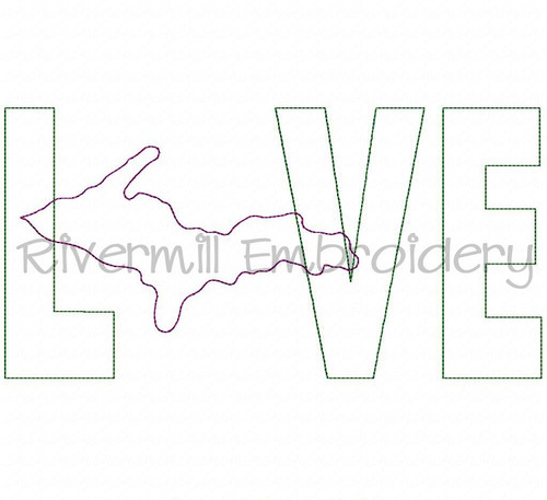 Raggy Applique Michigan Upper Peninsula Love Machine Embroidery Design