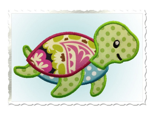 Cute Sea Turtle Applique Machine Embroidery Design