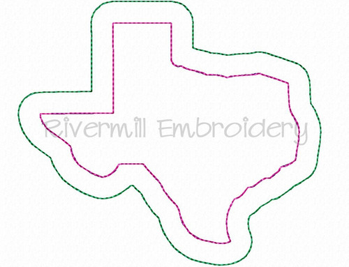Raggy Double Applique State of Texas Machine Embroidery Design