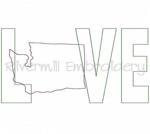 Raggy Applique Washington Love Machine Embroidery Design