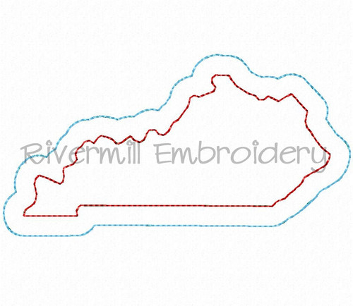Raggy Double Applique State of Kentucky Machine Embroidery Design