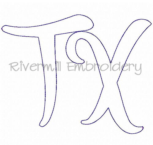 "Raggy Applique Texas ""TX"" Machine Embroidery Design (Version 2)"