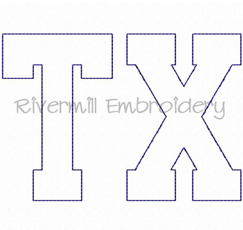 "Raggy Applique Texas ""TX"" Machine Embroidery Design (Version 3)"