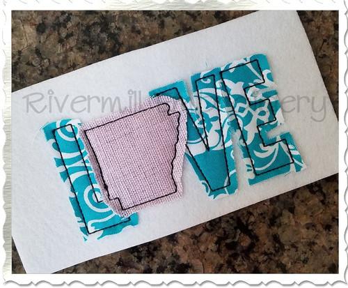 Small Raggy Applique Arkansas Love Machine Embroidery Design