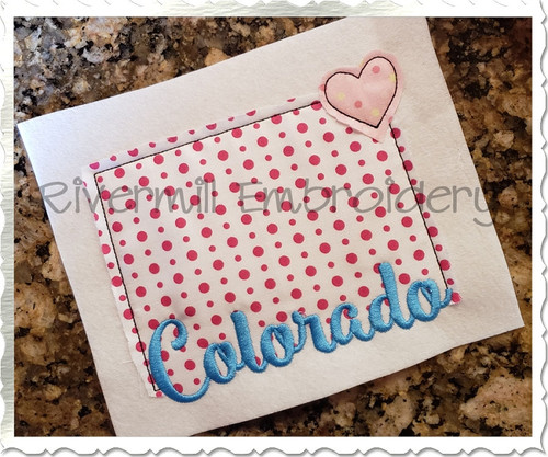 Raggy Applique State of Colorado with a Heart Machine Embroidery Design