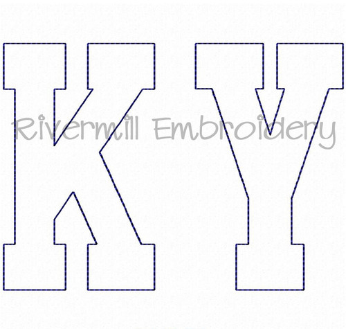 Raggy Applique Kentucky Varsity Style Machine Embroidery Design