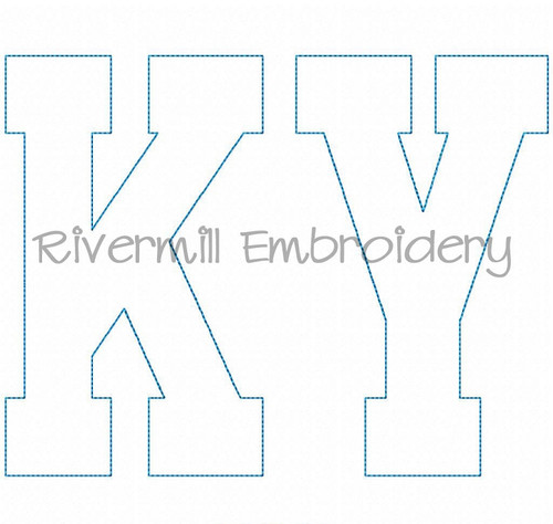 Large Raggy Applique Kentucky Varsity Style Machine Embroidery Design