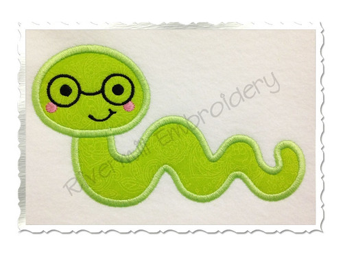Applique Bookworm Machine Embroidery Design
