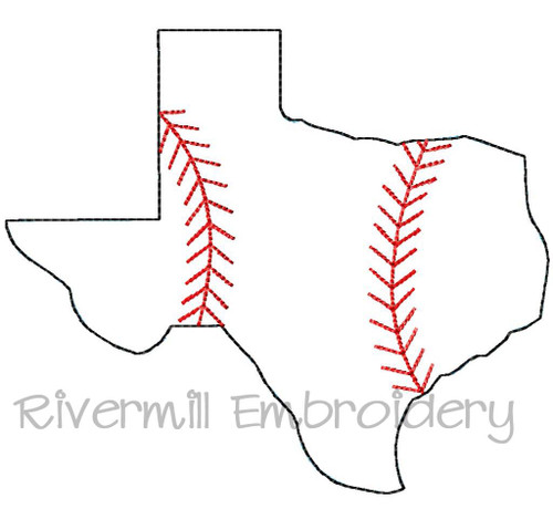 Raggy Applique Texas with Baseball Stripes Machine Embroidery Design