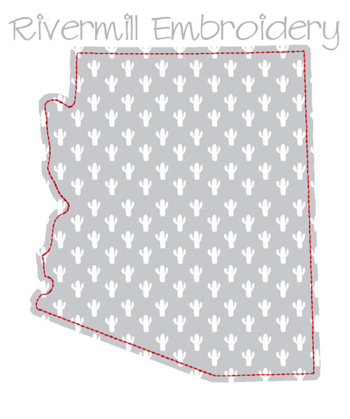 Raggy Applique State of Arizona Machine Embroidery Design